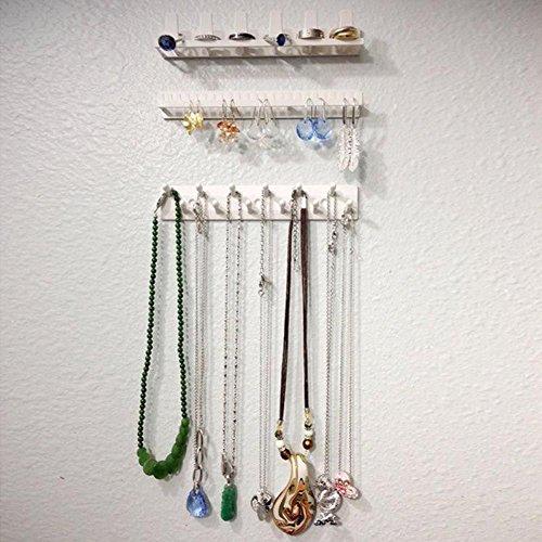 Handfly Jewelry Earring Necklace Storage Organizer Holder Jewelry Rack Sticky Hooks Wall-Mount Storage Rack