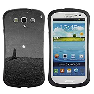 "Hypernova Slim Fit Dual Barniz Protector Caso Case Funda Para SAMSUNG Galaxy S3 III / i9300 / i747 [Estrellas Pintura Cat Wonder Gris Gris""]"