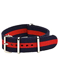 NATO G10 Nylon Premium Quality Replacement Watch Band Strap - 22mm / Navy Blue Red Stripe - FITS ALL WATCHES - (Military Army, Timex Weekender, Daniel Wellington, Urban Outfitters, Seiko, Rolex)
