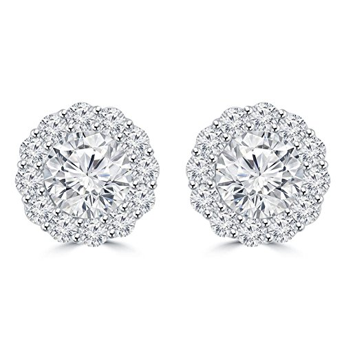 2.25 Ct Ladies Round Cut Diamond Stud Earring 14 kt White Gold in Screw Back