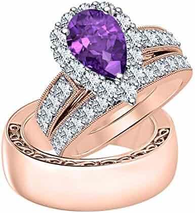 9dcbd1143 Dabangjewels Wonderful Pear Cut 3.50 cttw Purple Amethyst & Diamond 14k  Rose Gold Plated Wedding Promise