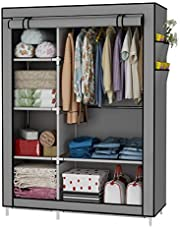 UDEAR Closet Organizer Wardrobe Clothes Storage Shelves, No-Woven Fabric Cover with Side Pockets,41.3 x 17.7 x 66.9 inches