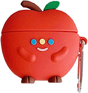 TOUBN Air pods Charging Case, Cute Kawaii Smiling Apple Design Wireless Bluetooth Earphone Cover, Soft Silicone Anti-Scratch Full Protective Skin Suitable for Airpods 1/2 Kids Boys Girls
