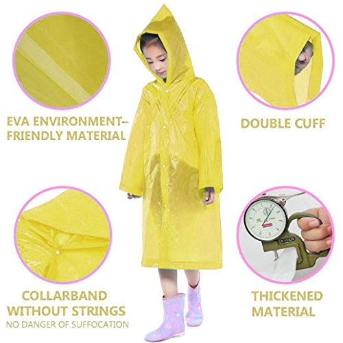 Tpingfe Portable Reusable Raincoats Children Rain Ponchos For 6-12 Years Old, 1PC (Yellow) by Tpingfe (Image #5)