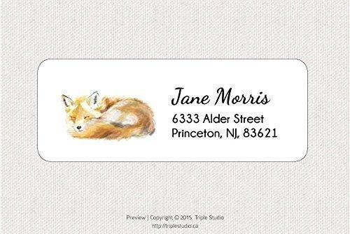 Customized Woodland Fox Return Address Label - Shipping Sticker