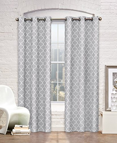 Contemporary Moroccan Trellis Design Classy Top Grommet Two Panel Window Curtain Grey Ornament Pattern 108″Wx90″L