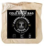 """(2 Pack) Organic Cotton Cold Brew Coffee Bag - Designed in California - Extra Large 12""""x12'' Reusable Filter Bags with EasyOpen Drawstring to Make Cold Brew in Pitchers or Mason Jars"""