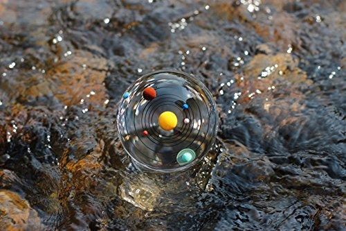 Sfera di cristallo del sistema solare da 80 mm con base a LED in cristallo Modello cosmico colorato 3 pollici