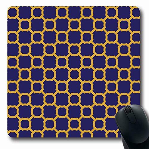 Gold Curves Link (LifeCO Computer Mousepad Pattern Blue Antiquity Vintage Geometric Lattice Antique Gold Navy Arabesque Curve Floral Graphic Oblong Shape 7.9 x 9.5 Inches Oblong Gaming Non-Slip Rubber Mouse Pad Mat)