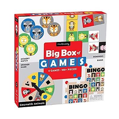 Mudpuppy Geometric Animals Big Box of Travel Games – 4 Games in 1 Travel Box Includes Bingo, Memory & More for Ages 3-6: Mudpuppy, Palafox Studio: Toys & Games