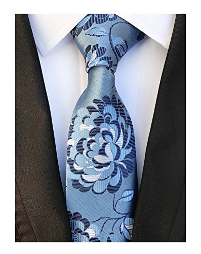 Sky Blue Navy Young Woven Silk Ties Fashion Gentleman Dress Nice Boys Neckties Gray Floral Tie