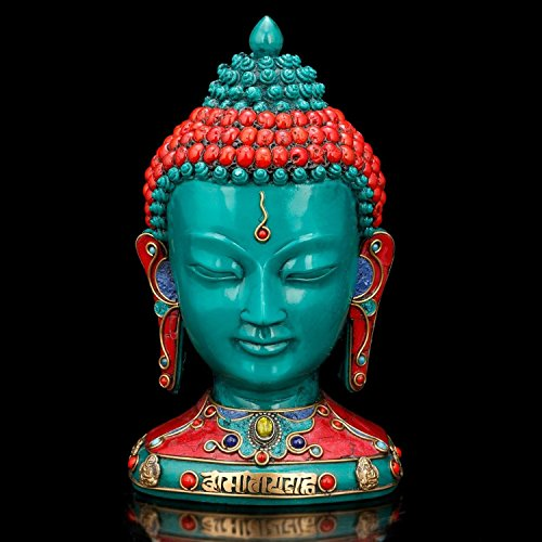 AapnoCraft Thai Buddha Bust Statue Nepali Handmade Buddha Head Sculpture Colourful Statue Of Shakyamuni Buddha Face by AapnoCraft