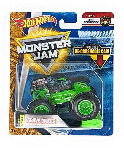 Hot Wheels Monster Jam 2018 New Look Grave Digger with Re-Crushable Car 13/15 Epic Additions
