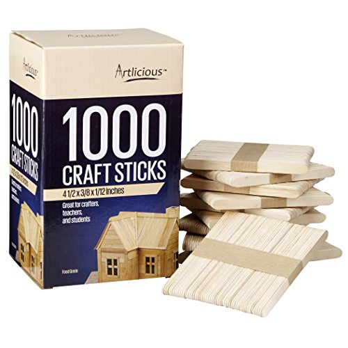 Artlicious - Natural Wooden Food Grade Popsicle Craft Sticks (1000 Sticks) -