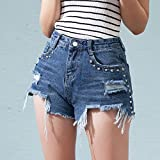 YFF High waist irregular flash blue jeans shorts female student personality Pants,S