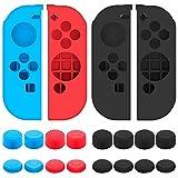 Carcasa de silicona y para Nintendo Switch joy-con Controller con el pulgar Gorras, Senhai 2unidades antideslizante Grips Covers con almohadillas para orejas 16Pulgar Stick–Negro, Azul + Rojo
