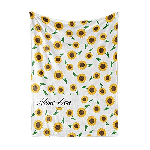 Fleece Baby Patterns - Personalized Custom Cute Sunflower Pattern Fleece and Sherpa Throw Blanket for Boys, Girls, Kids, Baby - Toddler Sun Flower Blankets Perfect for Bedtime, Bedding or as Gift