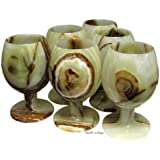 Green Onyx Glasses 6 pc set Goblets Comes in Free Gift Box