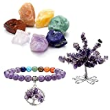 CrystalTears 7 Chakra Gems Set,Money Tree+ Irregular Chakra Stones+ Chakra Tree of Life Elastic Bracelet Reiki Healing Crystal Feng Shui Spiritual Decor Ornaments(Amethyst)