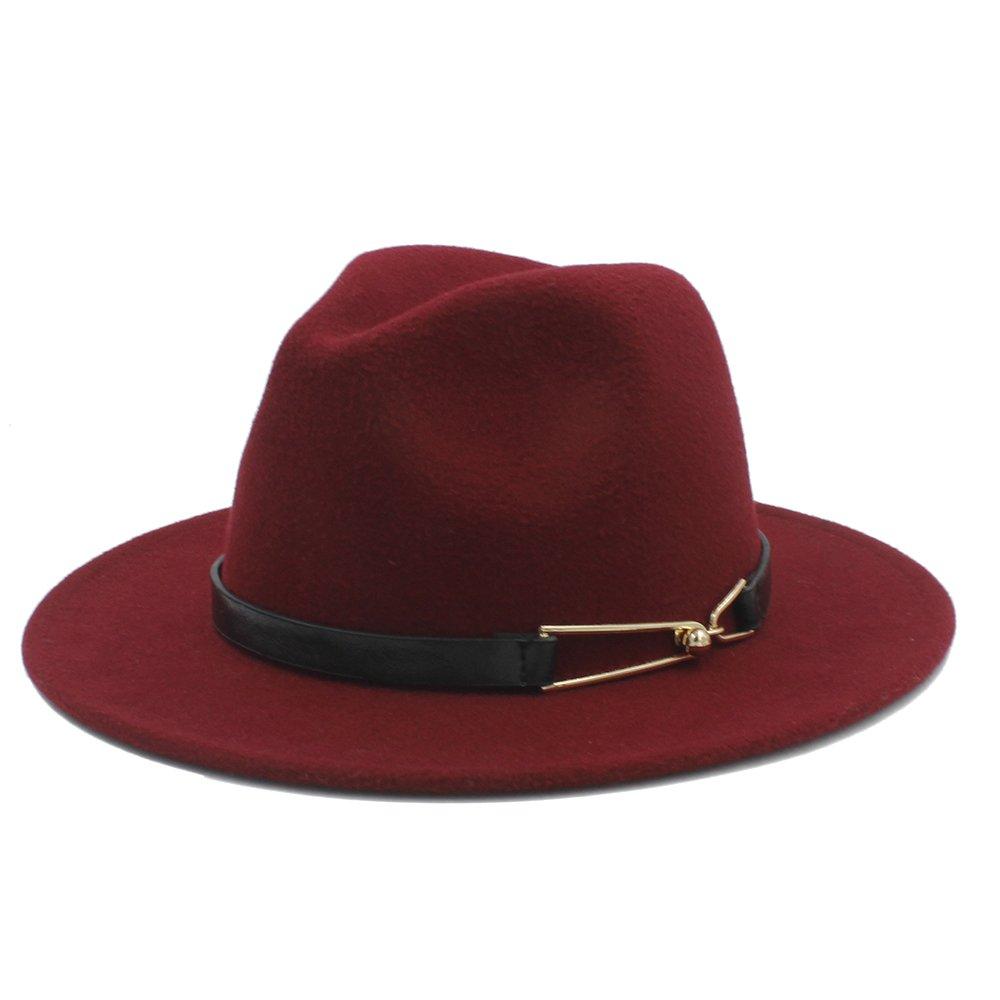 MUMUWU Wool Women Men Wide Brim Hat Wool Fedora Hat with Elegant Alloy Belt