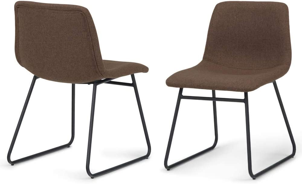 Simpli Home AXCRID-01BRL Ridley Mid Century Modern Dining Chair (Set of 2) in Brown Linen Look Fabric