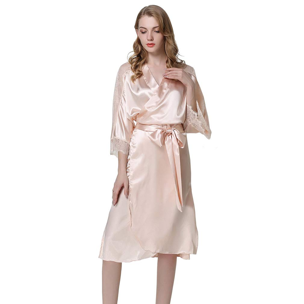 7e14ccf879 HiSexy Womens Long Sleeve Pajama Set Silk Robe Kimono Sleepwear Champagne  at Amazon Women s Clothing store