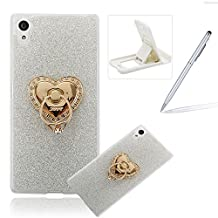 Cover for Sony Xperia Z5 Compact,Rubber Case for Sony Xperia Z5 Compact,Herzzer Super Slim [Gradient Color Changing] Dust Resistant Soft Flexible TPU Bling Glitter Protective Case for Sony Xperia Z5 Compact
