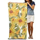 abyss beer - Microfiber Beach Towel Watercolor Sunflower Pattern 30