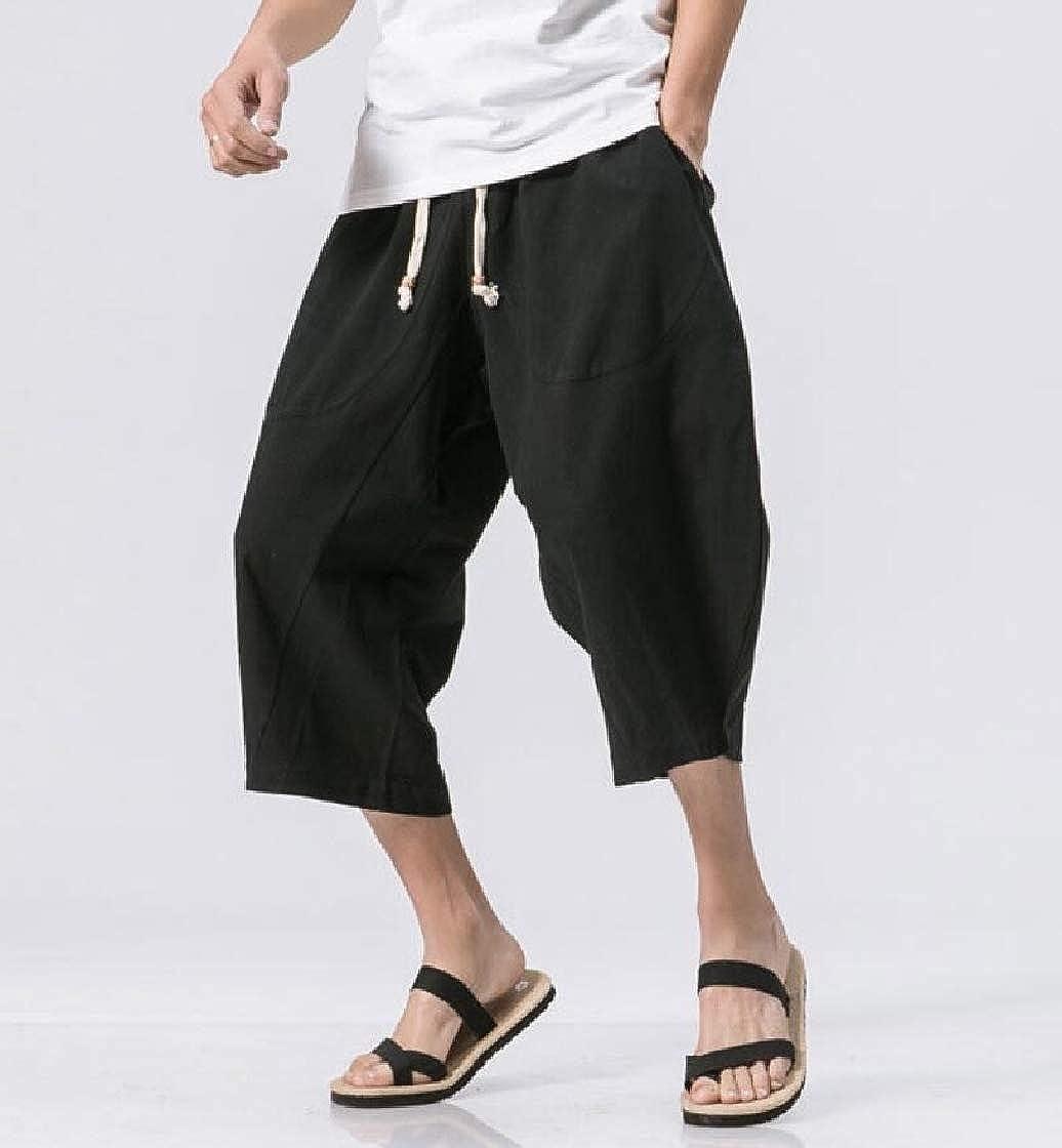 DressU Mens 3//4 Oversize Chinese Style Linen Chino Pants Trousers