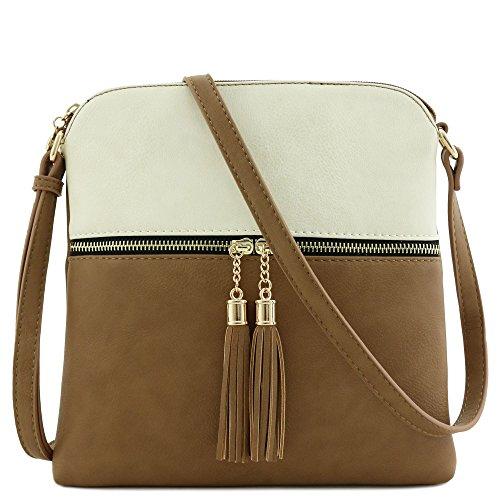 Tassel Zip Pocket Crossbody Bag (Beige/Stone)