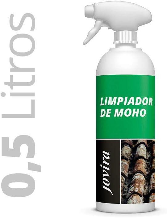 LIMPIADOR DE MOHO, Antimoho, Tratamiento- elimina-limpia el moho, eficaz para Manchas de microorganismos en terrazas, tejados, muros, paredes, jardin, azulejos, bañeras, cocinas, baldosas, aseo 500 ML