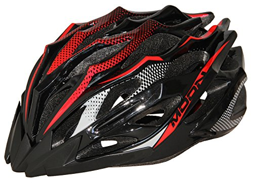 Moon Adult Bicycle Helmet Mtb/Road Bike Helmets Cycling Mountain Racing Adjustable Red abd Black Large