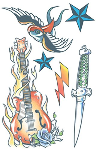 Male Rockstar Costume Ideas (Rock Star 6pc Temporary Tattoo Kit (Multi))