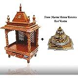 Wooden Temple / Home Mandir / Pooja Ghar Mandir 60 for Home & Office with free Meru Shree Yantra For Vastu