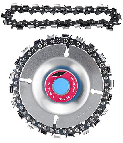 4 Inch Grinder Chain Disc with a Chain Replacement 5/8 Inch Arbor 22 Tooth Wood Carving Disc for 100/115 Angle Grinder (Tooth Disc)