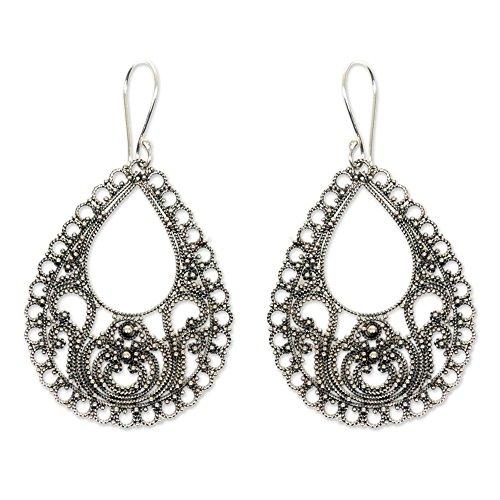 - NOVICA .925 Sterling Silver Filigree Dangle Earrings, Bali Glam'