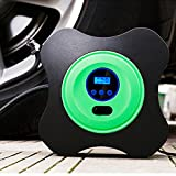 Qi Mei 12V DC Portable Inflator Auto Air Compressor Tire Pump with Digital Gauge for Trucks, Bicycles or RVs, Automatic and Basketballs (Green)