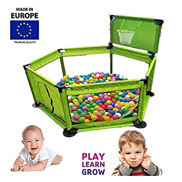 TAVALAX Pop 'N Play Baby Playpen & Foldable & Compact, Fitted Floor Mat, Strong and Durable Play Pen (Deluxe Blue)