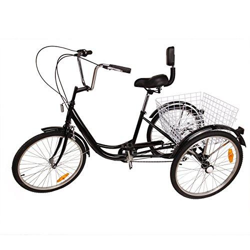 "Iglobalbuy Black 6 SpeedThree Wheel Adult Tricycle Trike 24"" W/ Large Size Basket"