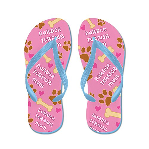 Cafepress Border Terrier Mom Gift Flip Flops - Chanclas, Sandalias Thong Divertidas, Sandalias De Playa Caribbean Blue