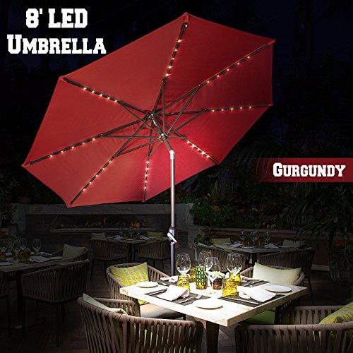 BenefitUSA 8Ft Aluminum Patio Umbrella with LED Lighting with Tilt System (Patio Umbrella Lighting System)