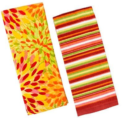 Fiesta Towel (Fiesta Calypso Sunflower Floral & Stripe Terry Kitchen Towel Set)