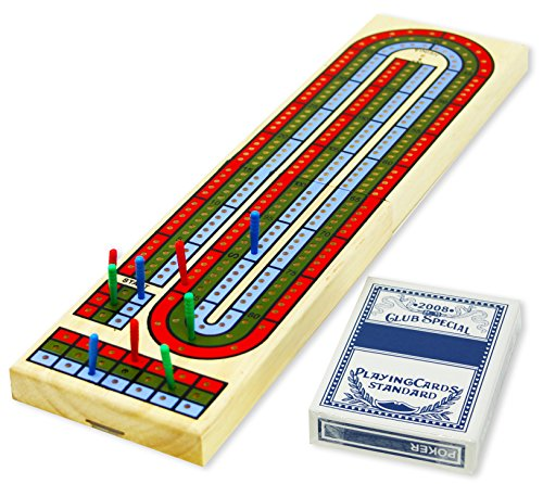 DA VINCI Classic 3 Track Wooden Cribbage Set (Folding with a Deck of Cards) (Folding Cribbage Board)
