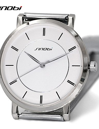 QFDZHS®sinobi mejor marca de lujo tienda de relojes para hombre relojes de pulsera de cuarzo de acero inoxidable reloj de los señores súper , silver: ...