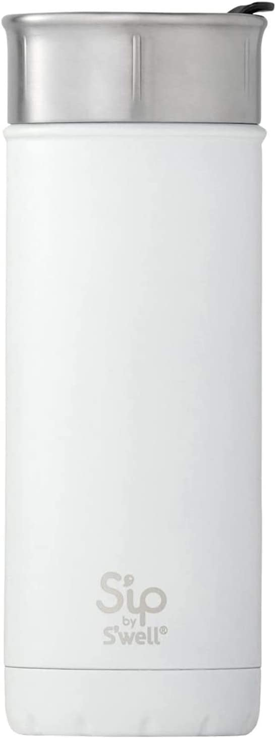 S'ip by S'well Stainless Steel Travel Mug - 16 Fl Oz - Flat White - Double-Layered Vacuum-Insulated Travel Mug Keeps Coffee, Tea and Drinks Cold for 16 Hours and Hot for 4 - BPA-Free Water Bottle