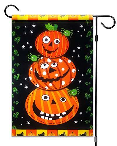 51groups Halloween Garden Flag 12'X18 | Happy Halloween Designer Flag | Trick or Treat Flag I Fall Decorative Flag I Weatherproof, Small Banner Size (Triple Pumpkins & Spiders) -