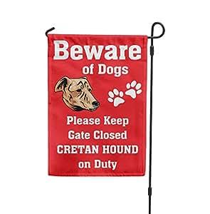 Cuidado de Creta Hound Dog On Duty Patio Patio Casa Banner bandera de Jardín Juego