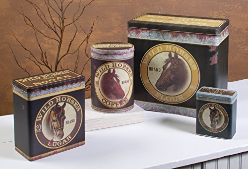 Ohio Wholesale 4 Pc Western Kitchen Tin Canisters with Horse Head Advertising Images -