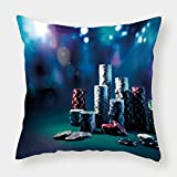 iPrint Satin Throw Pillow Cushion Cover,Poker Tournament Decorations,Gaming Table with Poker Chips Dramatic Display Vegas Leisure Decorative,Multicolor,Decorative Square Accent Pillow Case