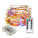 Outdoor LED String Lights Dimmable Battery Operated Waterproof Multi Colored Wireless Remote 33ft Copper Wire String for Indoor, Home, Wedding, Party, Christmas Decoration(Multi Colored)